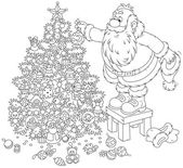 Santa Claus decorating a Christmas tree — Vecteur
