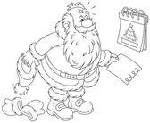 Santa Claus and tear-off calendar — Stock Vector