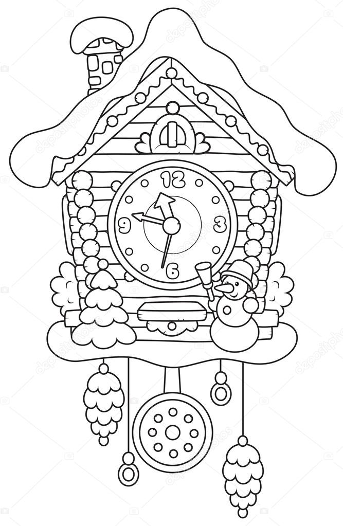 Cuckoo Clock Coloring Page Craft Coloring Pages