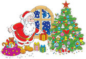 Santa with gifts — Stock Vector
