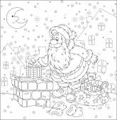 Santa on a housetop — Stock Vector