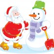 Santa and snowman — Stock Vector #55127161