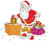 Santa on a housetop — Stock Vector