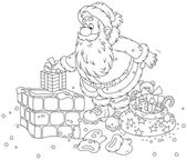 Santa Claus on a housetop — Stock Vector