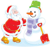 Santa and snowman — Stock Vector