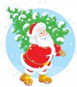 Santa with a Christmas tree — Stock Vector