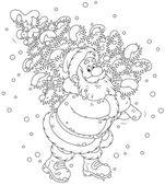 Santa with Christmas tree — Stock Vector