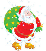 Santa with his bag of gifts — Stock Vector