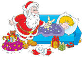 Santa with gifts for a child — Vector de stock