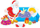 Santa with gifts for a child — Stock Vector