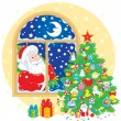 Santa Claus and Christmas tree — Stock Vector #56968801