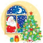 Santa Claus and Christmas tree — Stock Vector #56968801