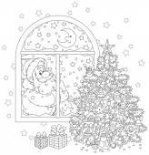 Santa Claus and Christmas tree — Stock Vector
