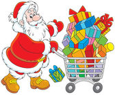 Santa with a shopping cart of gifts — Stock Vector