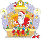 Santa in the fireplace — Stock Vector
