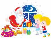 Santa and kids — Stock Vector