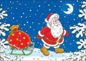 Santa with a gift bag — Stock Vector