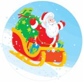 Santa Claus sledding with gifts — Stock Vector