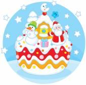 Christmas cake — Stock Vector