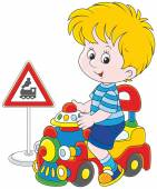 Boy on a toy train — Stock Vector