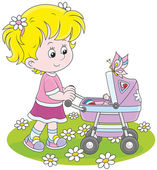 Girl with a toy baby buggy — Stock Vector