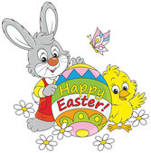 Easter Bunny and Chick — Stock Vector