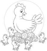 Hen and chicks — Stock Vector