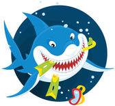 Smiling shark with snorkel — Stock Vector