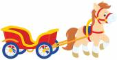 Pony with a cart — Stock Vector