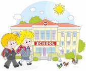 Schoolchildren going to school — Stock Vector