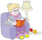 Granny reading — Stock Vector