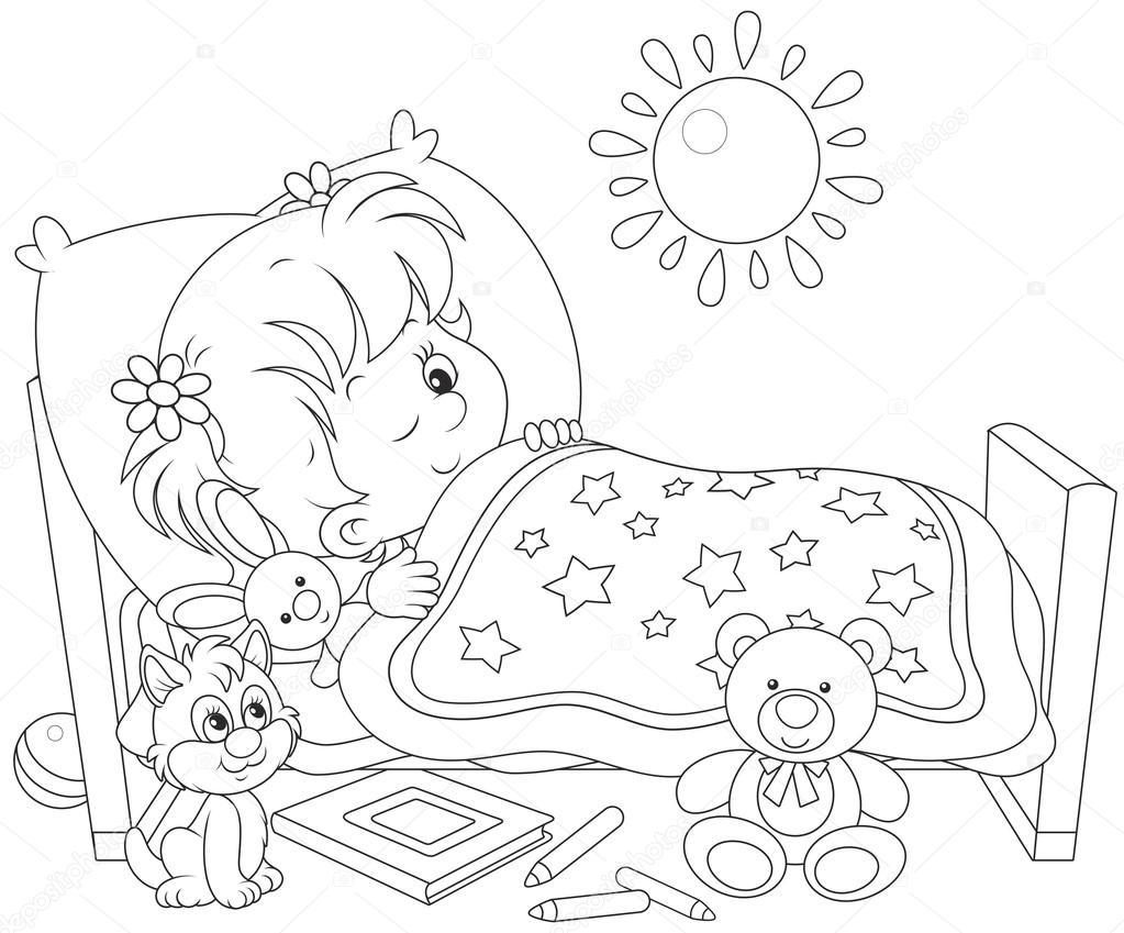 Girl waking up drawing for Cama para colorear