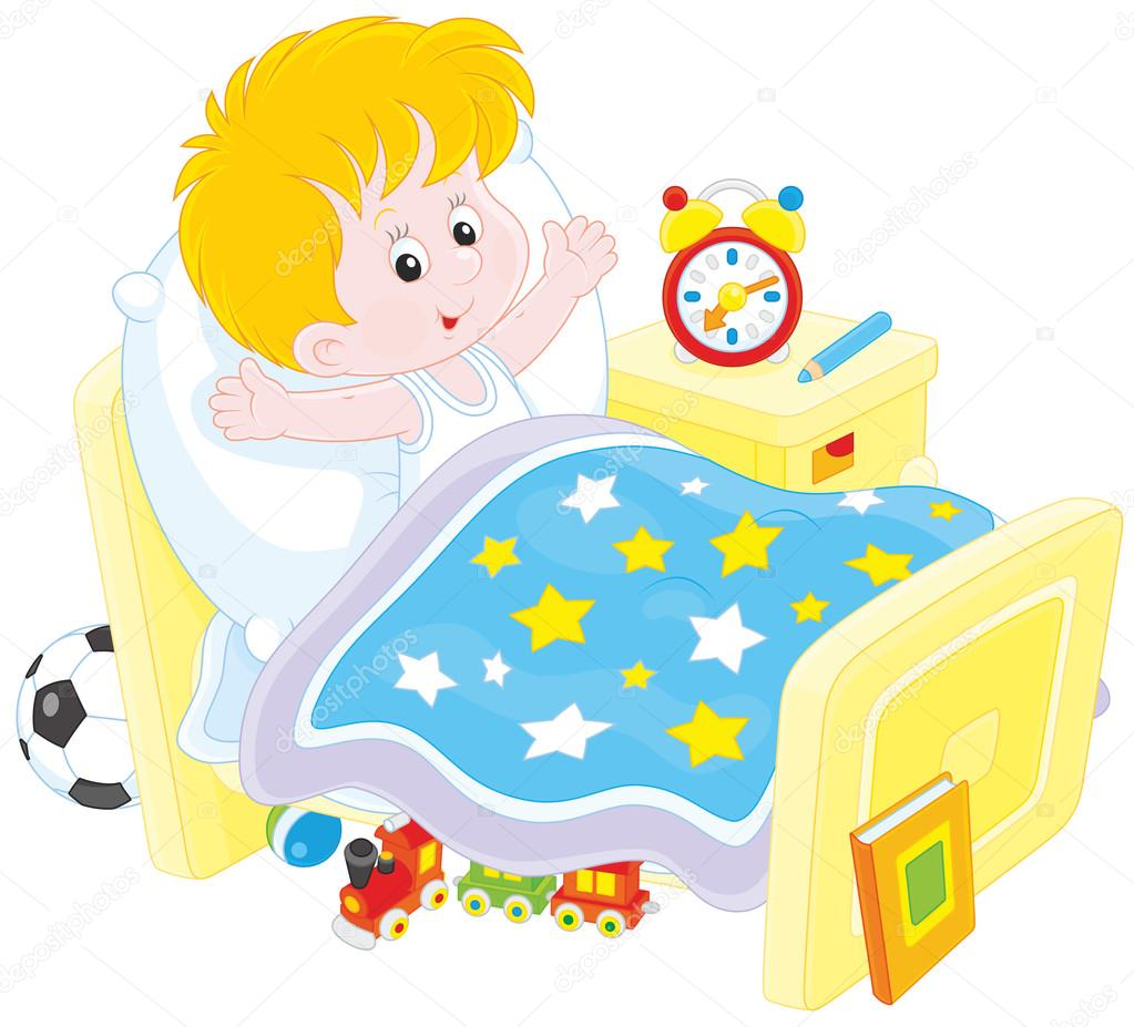 Image result for caricature of a little boy and girl waking up from bed