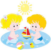 Children playing in water — Stock Vector