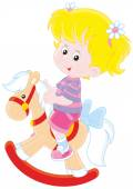 Girl and toy horse — Stock Vector