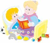Granny and grandson reading fairytales — Stock Vector