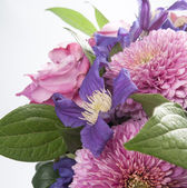 Bouquet of  chrysanthemum, clematis, freesia and hidranheya — Stock Photo