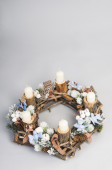 Christmas wreath with candles — Stock Photo