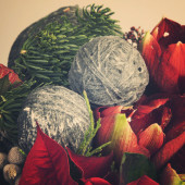 Christmas bouquet with decorations — Stok fotoğraf