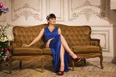 Beautiful brunette in a boudoir — Foto Stock