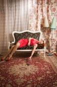 Lifeless victim in a vintage interior — Stock Photo