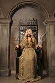 Nun on the royal throne — Stock Photo