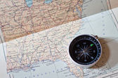 Compass on a world map — Foto Stock