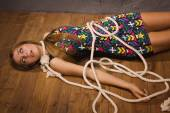 Crime scene simulation: hanged woman — Stock Photo