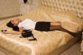 Strangled victim in a vintage bedroom — Stock Photo