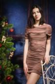 Happy new year brunette — Stock Photo