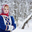 Russian beauty woman in traditional clothes — Stock Photo #64471453