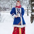 Russian beauty woman in traditional clothes — Stockfoto #64471391