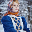 Russian beauty woman in traditional clothes — Stock fotografie #64471413