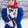 Russian beauty woman in traditional clothes — Stockfoto #64471457